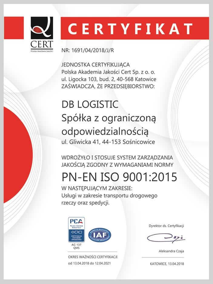 certyfikat normy pn-en iso 9001:2015