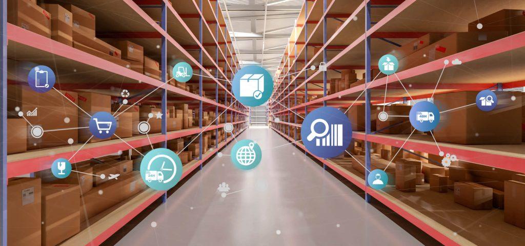 Zobacz organizacji logistycznej na renderowania 3d tła magazynu